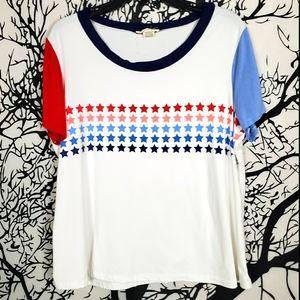 NO COMMENT Patriotic Short Sleeve Tee Shirt Stars
